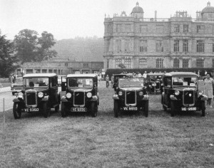 Bristol Austin 7 Club Longleat Rally in 1972. Four Cambridge registered Austin Sevens