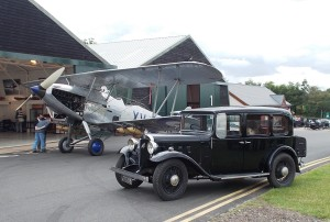 Doug & Toddy Collyer's Austin Berkeley alongside a Hawker Hind